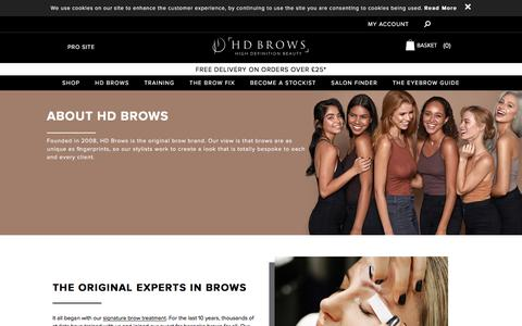 Screenshot of About Page hdbrows.com - About Us | Welcome to the Official HD Brows® Website - captured July 13, 2019