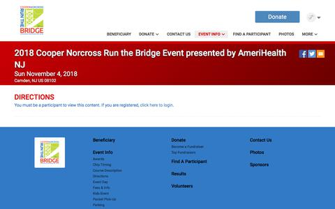 Screenshot of Maps & Directions Page runsignup.com - 2018 Cooper Norcross Run the Bridge Event presented by AmeriHealth NJ - captured Feb. 24, 2018