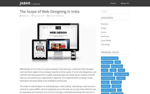 Screenshot of Blog jabar.in - The Scope of Web-Designing in India | Jabar - captured Jan. 21, 2016