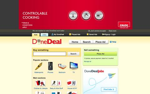 Screenshot of Home Page donedeal.ie - DoneDeal.ie - Ireland's biggest classifieds site - captured Sept. 18, 2014