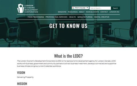 Screenshot of About Page ledc.com - About   London Economic Development Corporation - captured Jan. 17, 2018