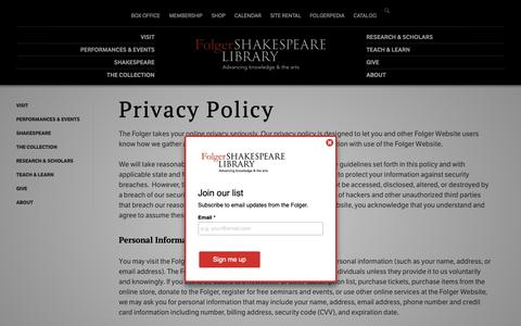 Screenshot of Privacy Page folger.edu - Privacy Policy | Folger Shakespeare Library - captured Sept. 28, 2018