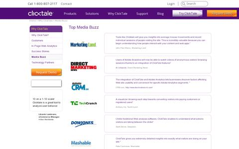 Screenshot of Press Page clicktale.com - Media Buzz - read what the press are saying about ClickTale - captured July 20, 2014