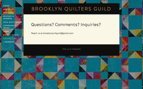 Screenshot of Contact Page quiltbrooklyn.org - Contact Us — Brooklyn Quilters Guild - captured March 10, 2016