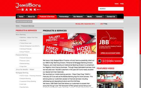 Screenshot of Products Page jamiiborabank.co.ke - Products & Services | Jamii Bora Bank - captured Sept. 30, 2014