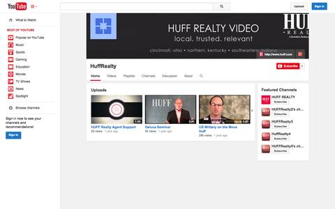 Screenshot of YouTube Page youtube.com - HuffRealty  - YouTube - captured Oct. 23, 2014