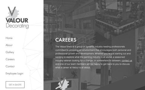Screenshot of Jobs Page valourdecorating.com - Careers « - captured Dec. 10, 2018