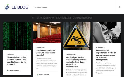 Screenshot of Blog jack-in-the-box.fr - Le Blog de Jack in the Box – L'expert français en Proposal Management - captured Aug. 20, 2018