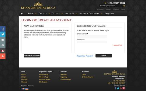 Screenshot of Login Page khanorientalrugs.com - Customer Login - captured Sept. 30, 2014