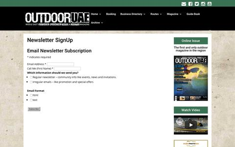 Screenshot of Signup Page outdooruae.com - Newsletter SignUp | OutdoorUAE - captured Oct. 20, 2018