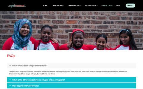 Screenshot of FAQ Page girlforward.org - FAQ - GirlForward - captured Dec. 9, 2015