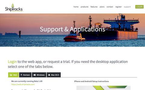 Screenshot of Support Page shiptracks.com - Support & Applications - captured July 27, 2018