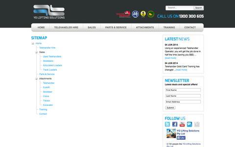 Screenshot of Site Map Page liftingsolutions.com.au - YG Lifting Solutions | Sitemap | Manitou, Manitou Telehandler, JCB Telehandler, New Holland Telehandler, Merlo Telehandler, Genie Telehandler, Dieci T - captured Oct. 3, 2014