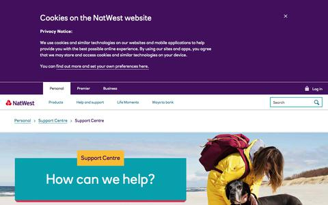 Screenshot of Support Page natwest.com - Support Centre | NatWest - captured Jan. 8, 2020