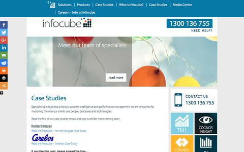 Screenshot of Case Studies Page infocube.com.au - Case Studies - Infocube - captured Oct. 15, 2017