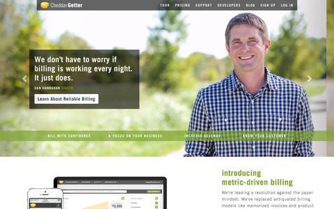 Screenshot of Home Page cheddargetter.com - Subscription Management and Recurring Billing | CheddarGetter - captured July 20, 2015