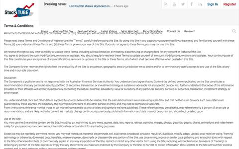 Screenshot of Terms Page stocktube.com - StockTube - Leading source of Financial News, Investor Forums, CEO Interviews, Financial Columnists, Stock Information - Terms & Conditions - captured June 26, 2017