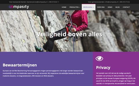 Screenshot of Privacy Page compasity.nl - Veilig opslaan van medische data is cruciaal bij verzuim   Compasity - captured Sept. 29, 2018