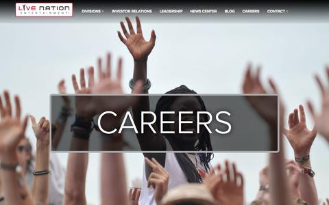 Screenshot of Jobs Page livenationentertainment.com - Careers : Live Nation Entertainment - captured Oct. 31, 2015