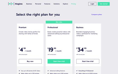 Screenshot of Pricing Page magisto.com - Online Video Editor by Magisto | Plans and Pricing - captured March 4, 2018
