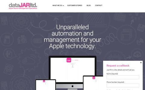 Screenshot of Home Page datajar.co.uk - dataJAR - The Apple Device Management Specialists - captured Oct. 9, 2018