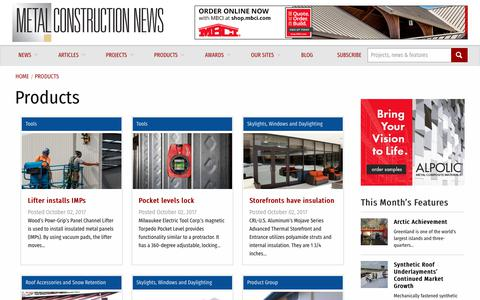 Screenshot of Products Page metalconstructionnews.com - Products | Metal Construction News - captured Oct. 20, 2017