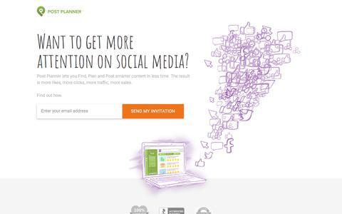 Screenshot of Home Page postplanner.com - Social Media Engagement App | Post Planner - captured June 17, 2017
