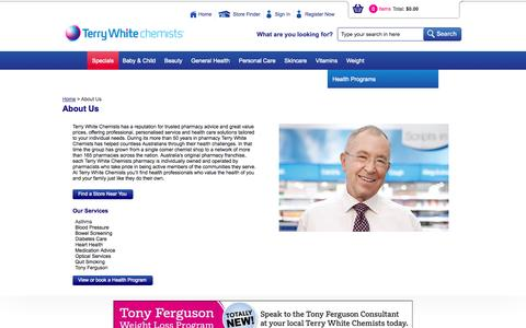 Screenshot of About Page terrywhitechemists.com.au - About  Us - captured Oct. 7, 2014