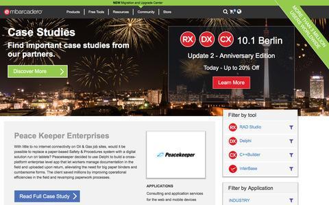 Screenshot of Case Studies Page embarcadero.com - Case Study - Embarcadero Website - captured Nov. 16, 2016
