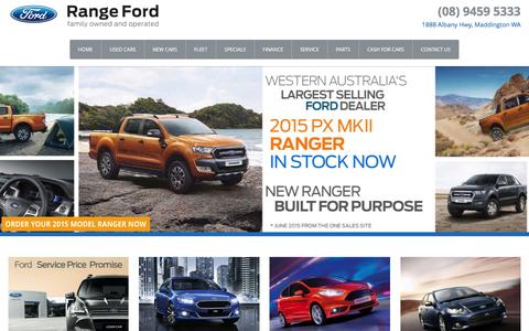 Screenshot of Home Page rangeford.com.au - Range Ford � Ford Dealer Perth, Western Australia - captured Jan. 13, 2016