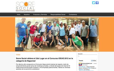 Screenshot of Home Page score-social.com - Inicio - captured Sept. 30, 2014