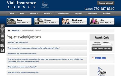 Screenshot of FAQ Page insurancepeachtreecityga.com - Frequently Asked Questions - Peachtree City Georgia - Viall Insurance Agency - captured Oct. 25, 2017