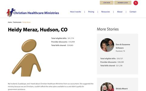 Screenshot of Testimonials Page chministries.org - Hudson, CO              | Christian Healthcare Ministries - captured May 16, 2019