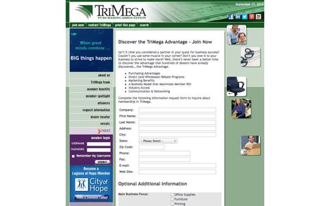 Screenshot of Signup Page trimega.org - Discover the TriMega Advantage - Join Now - captured Sept. 18, 2014