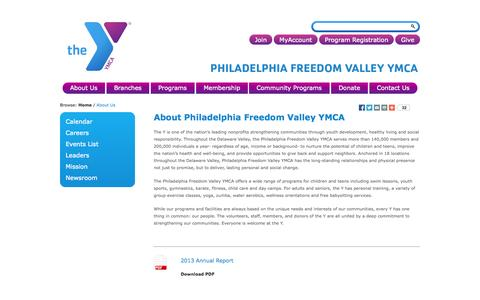 Screenshot of About Page philaymca.org - About Philadelphia Freedom Valley YMCA | Philadelphia Freedom Valley YMCA - captured Oct. 2, 2014