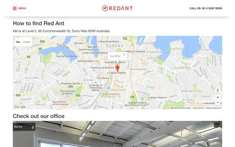 Screenshot of Maps & Directions Page redant.com.au - Red Ant - About Red Ant in Surry Hills Sydney Australia - Red Ant - captured Nov. 26, 2016