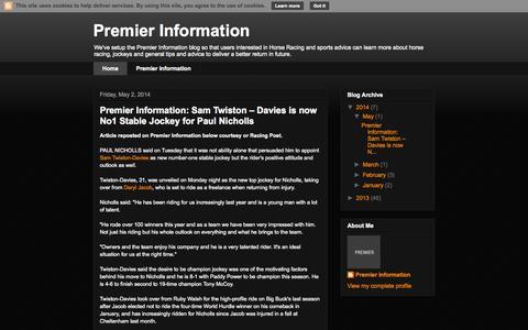 Screenshot of Home Page premier-information.blogspot.co.uk - Premier Information - captured Jan. 26, 2015