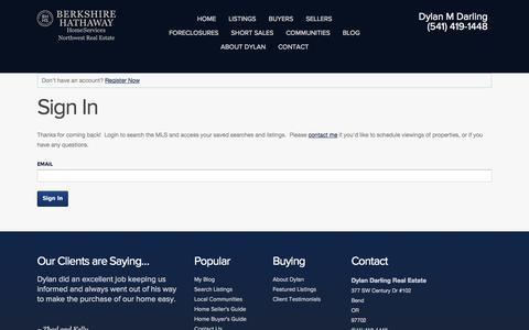 Screenshot of Login Page dylandarling.com - Sign In - captured Oct. 5, 2014