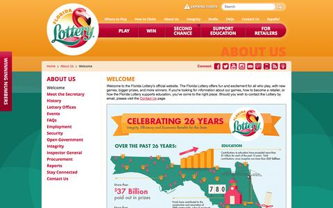 Screenshot of About Page flalottery.com - Florida Lottery - Welcome - captured Sept. 18, 2014