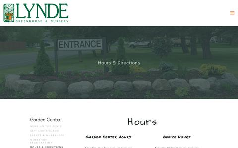 Screenshot of Hours Page lyndegreenhouse.com - Hours & Directions — Lynde Greenhouse & Nursery - captured Dec. 16, 2018