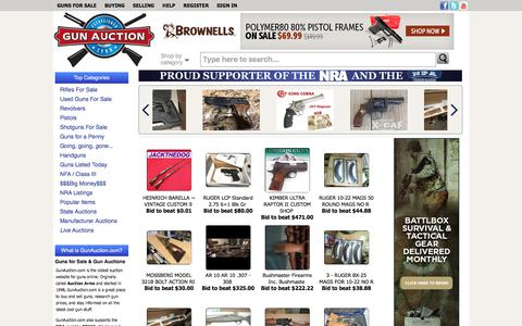 Screenshot of Home Page gunauction.com - Guns For Sale Online at GunAuction.com - New & Used Guns For Sale - captured Aug. 16, 2017