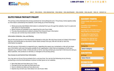 Screenshot of Privacy Page elitepools.com - Elite Pools Privacy Policy - captured Dec. 8, 2015