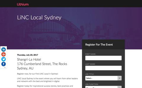 Screenshot of Landing Page lithium.com - LiNC Local Sydney - captured April 19, 2017