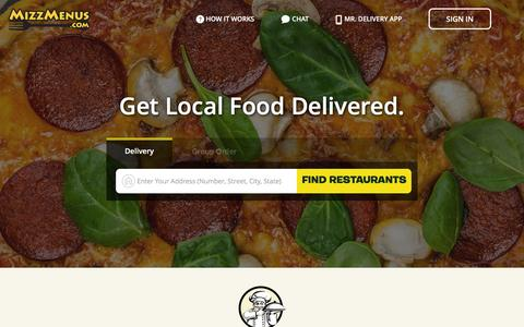 Screenshot of Home Page mizzmenus.com - Mr. Delivery   Restaurant Delivery   Online Ordering Food Delivery - captured Feb. 18, 2016