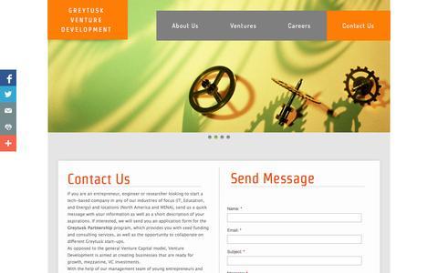 Screenshot of Contact Page greytusk.com - Contact Us - captured Oct. 3, 2014