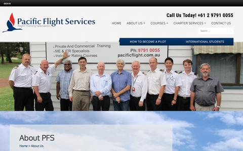Screenshot of About Page pacificflight.com.au - About PFS - captured July 19, 2016
