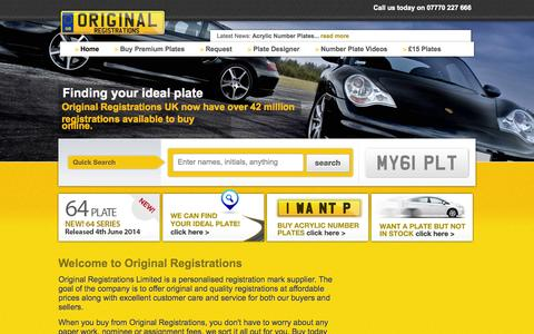 Screenshot of Home Page originalregistrations.co.uk - Private Registrations   Buy Personalised Private Number Plates cheap - captured Oct. 9, 2014
