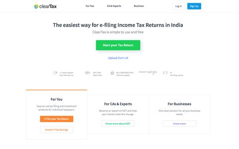 Free Income Tax efiling in India: ClearTax   Upload your Form-16 to e-File Income Tax Returns