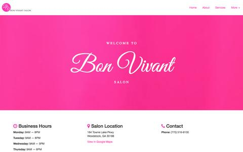 Screenshot of Home Page bonvivantsalon.com - Bon Vivant Salon - captured Sept. 30, 2014