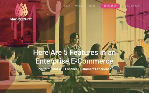 Screenshot of Home Page maorzen.com - Here Are 5 Features in an Enterprise E-Commerce Platform That Will Enhance Customers'Experience - captured Dec. 1, 2018